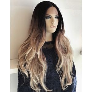 "26"" Ombre Ash Blonde Long Wig W/ Dark Roots